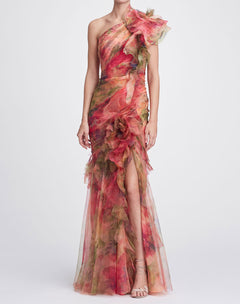 Load image into Gallery viewer, One-Shoulder printed silk organza gown