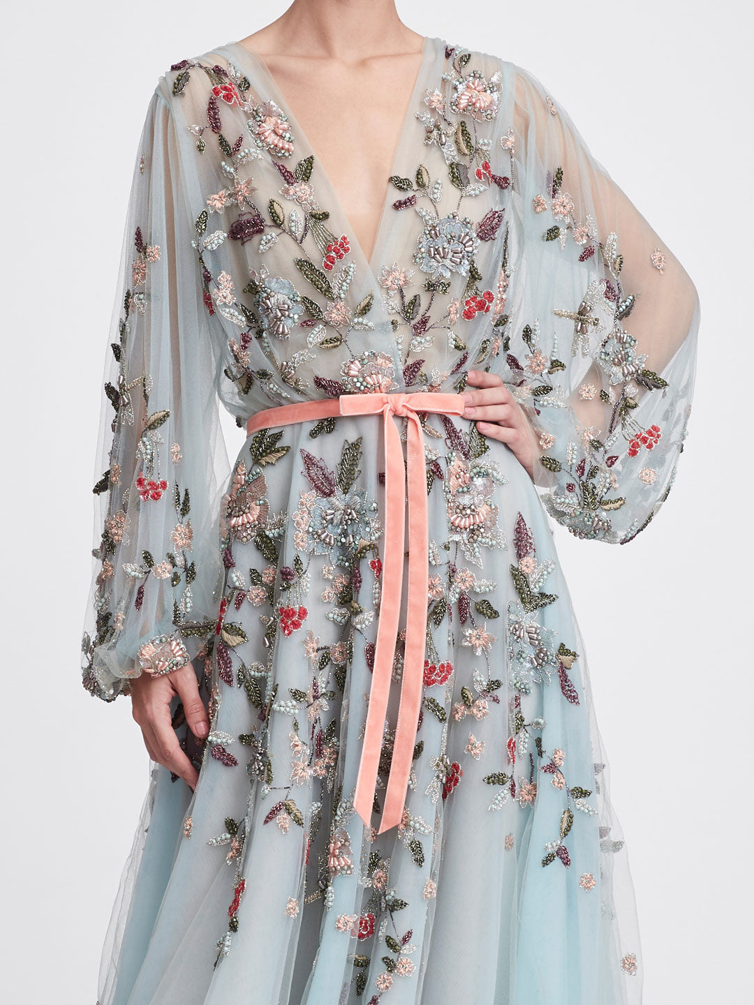 Floral Tea-Length Gown