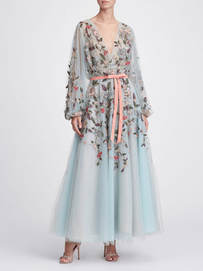 Floral Tea Length Gown
