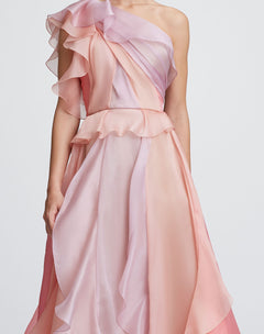 Load image into Gallery viewer, One-Shoulder silk gown