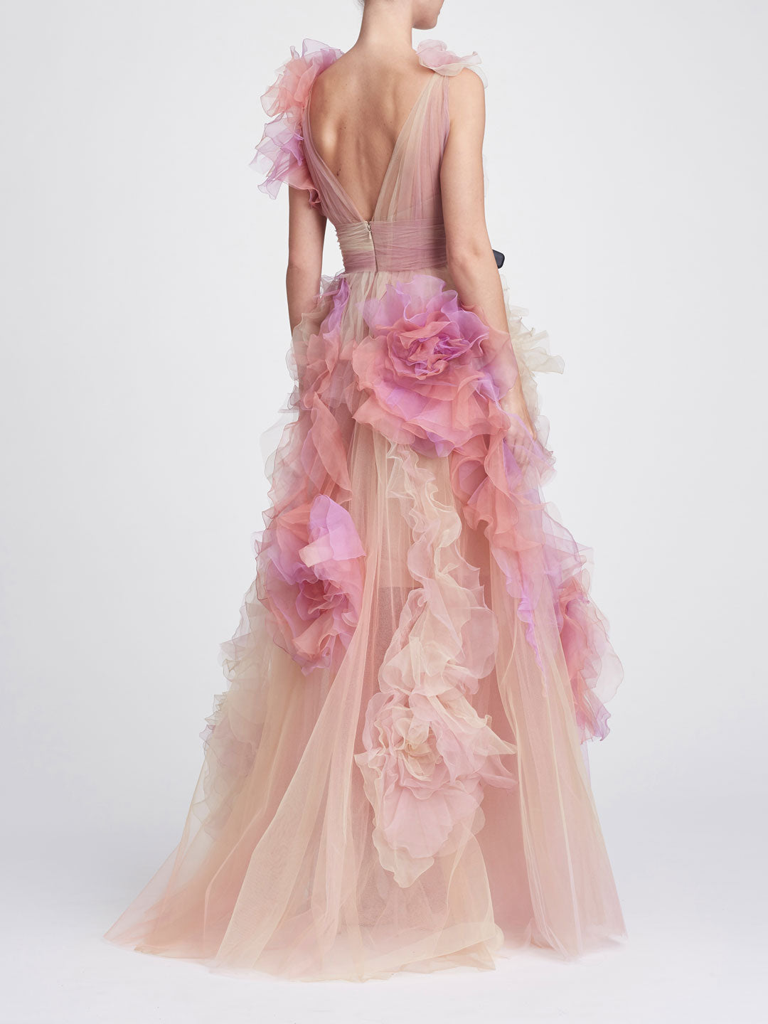 V-neck ballgown with cascading ruffles