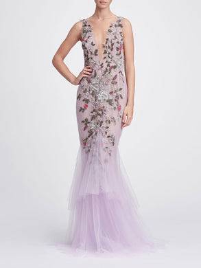 Fit and flare gown with tiered skirt