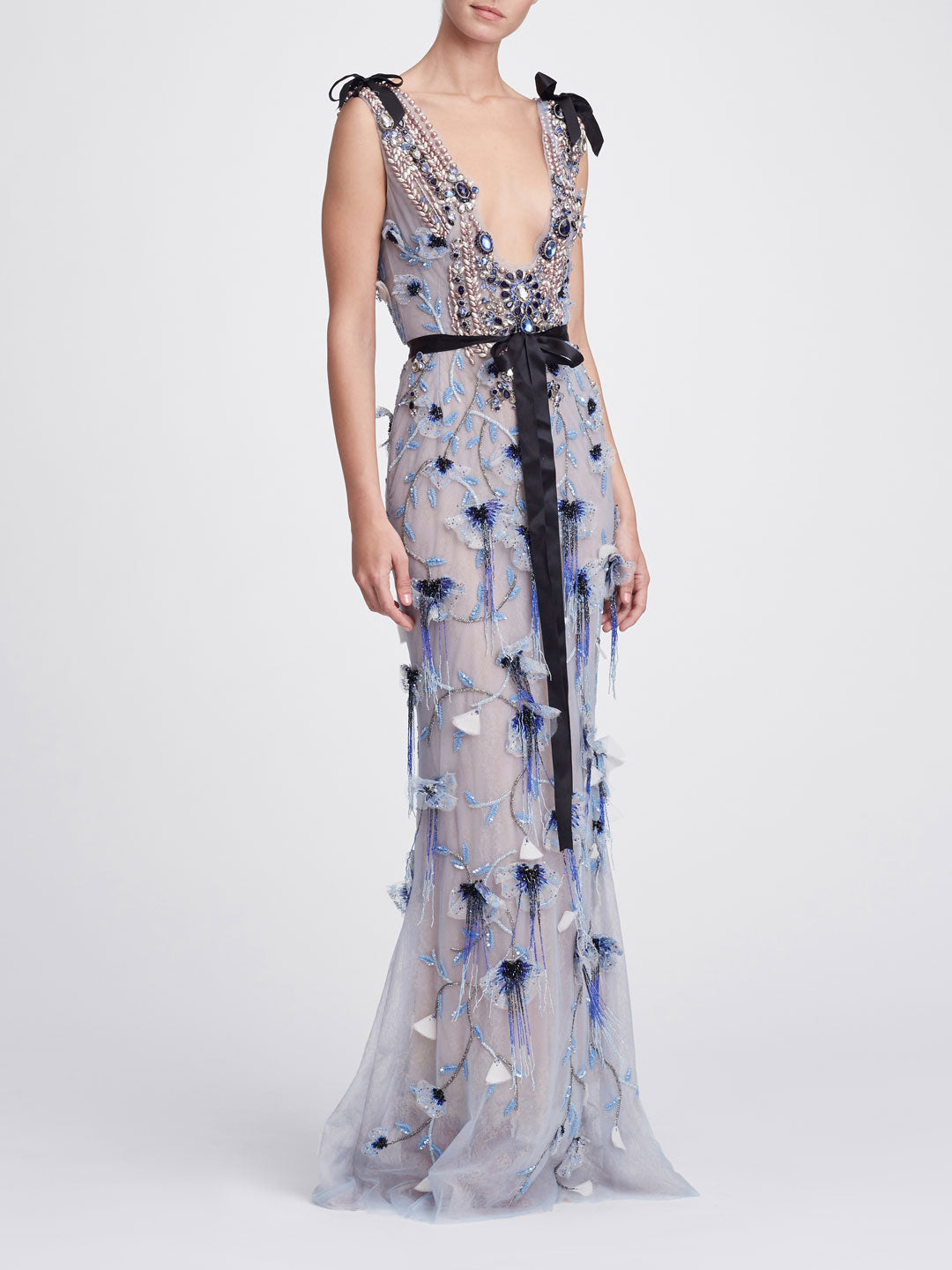 Embroidered Illusion Tulle Column Gown