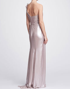 Load image into Gallery viewer, One-Shoulder Draped Lamé Gown