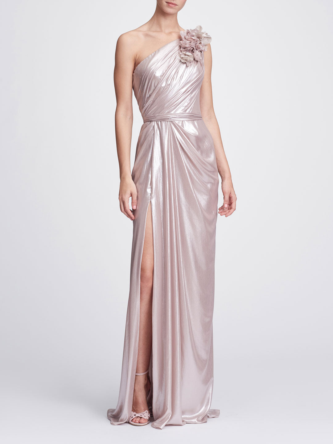 One Shoulder Draped Gown Shop Marchesa Couture