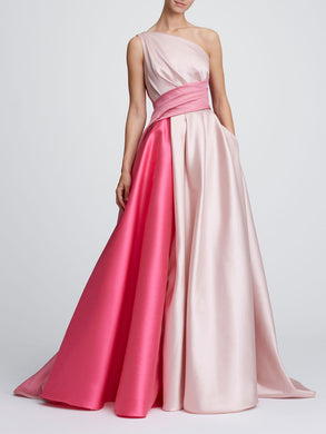 One-Shoulder color blocked ballgown