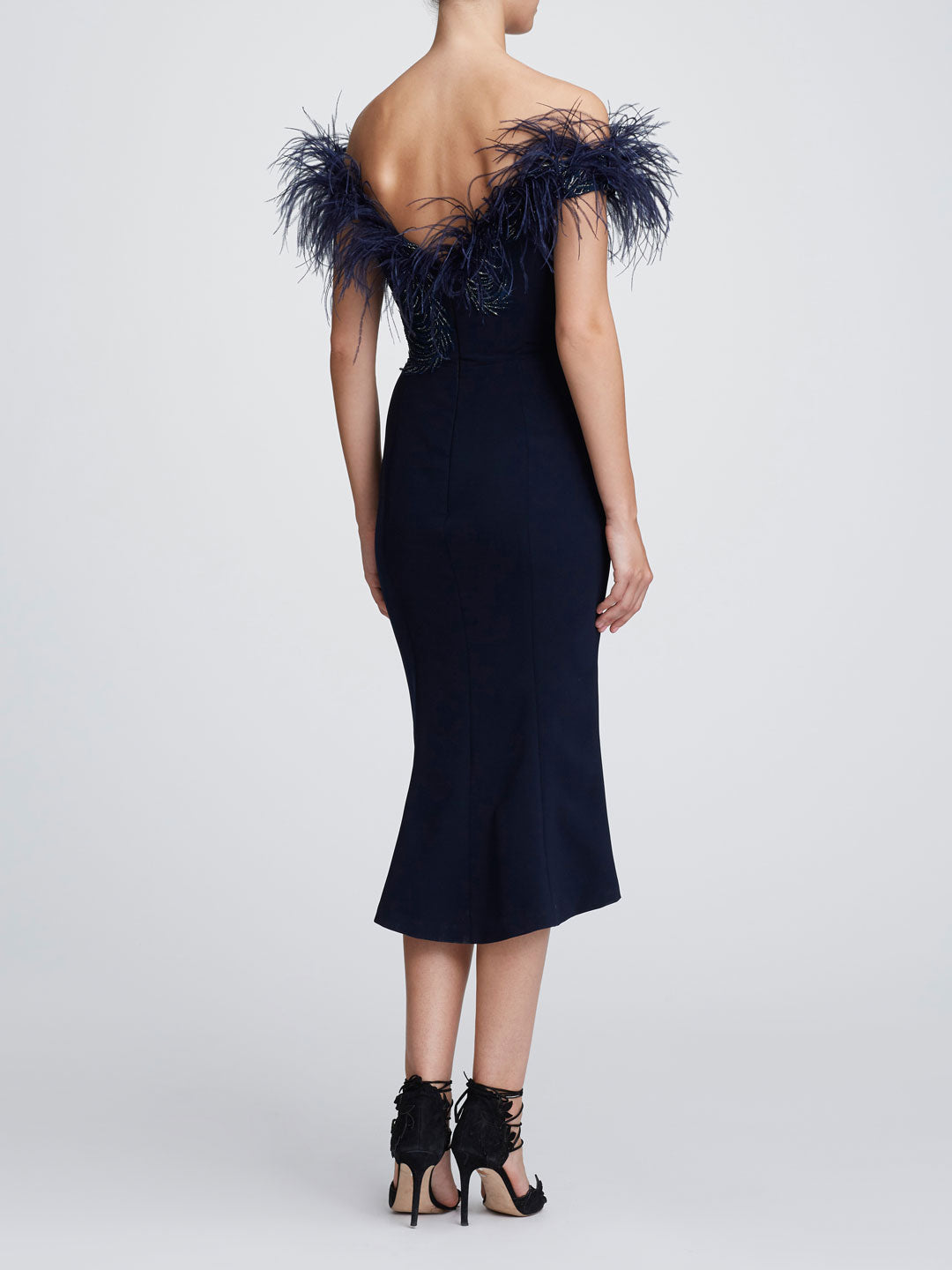 Off shoulder feather cocktail dress