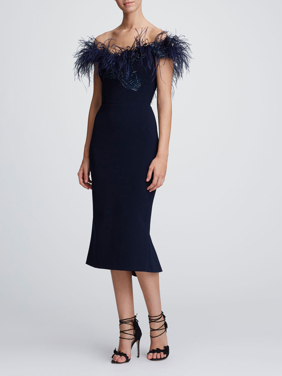 Off-the-Shoulder Feather Cocktail Dress