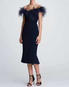 Load image into Gallery viewer, Off shoulder feather cocktail dress