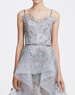 Load image into Gallery viewer, Light grey tulle gown with peplum