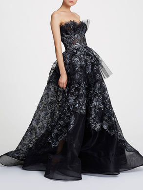 Silver foil printed embroidery ballgown