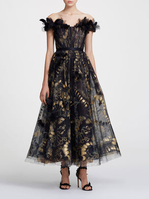 Foil printed tea length gown