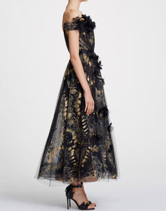 Load image into Gallery viewer, Foil Printed Tea Length Gown