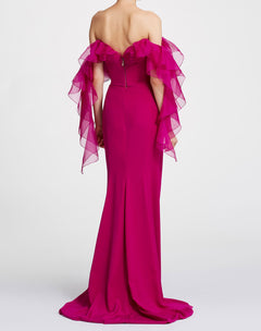 Load image into Gallery viewer, Off-shoulder ruffle column gown