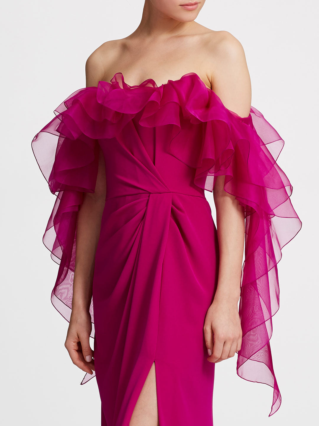 Off-shoulder ruffle column gown