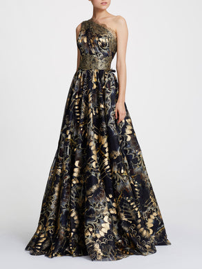 One Shoulder Foil Printed Organza Ballgown