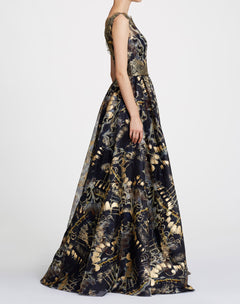 Load image into Gallery viewer, One shoulder foil printed organza ballgown