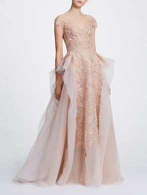 Blush pebble organza ballgown