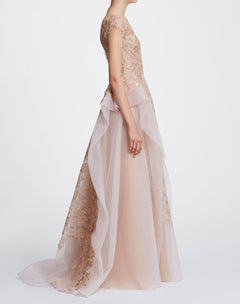 Load image into Gallery viewer, Blush pebble organza ballgown