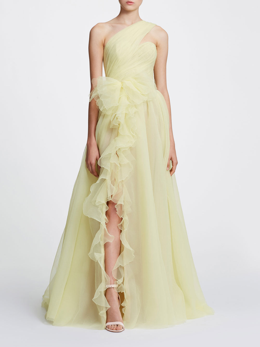 One shoulder gown with front slit detail
