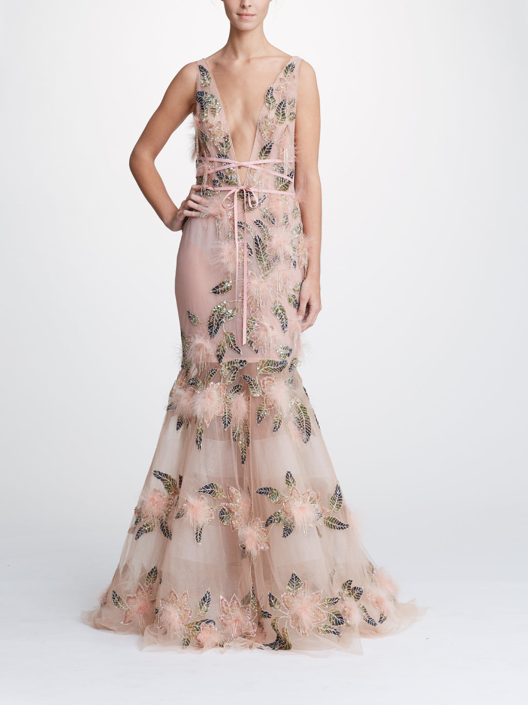 Fit-to-Flare Gown With Plunging Neckline
