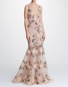 Load image into Gallery viewer, Fit Flare Gown With Plunging Neckline