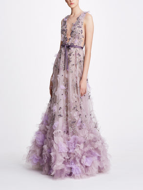 Deep V Textured Ball Gown