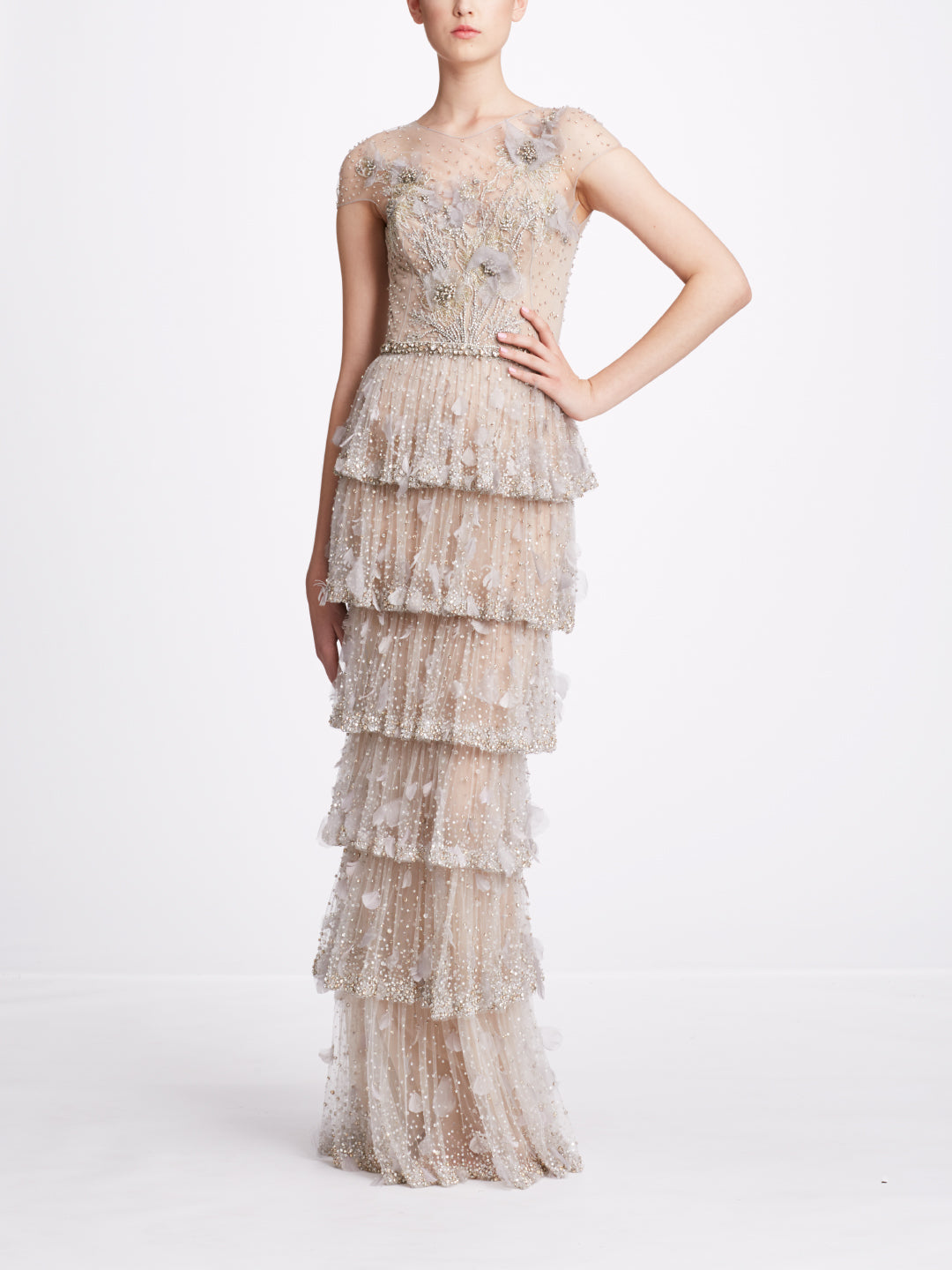 Illusion Neckline Embroidered Tiered Gown
