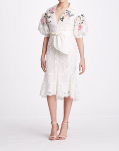 Load image into Gallery viewer, Bubble Sleeve Embroidered Shirt Dress