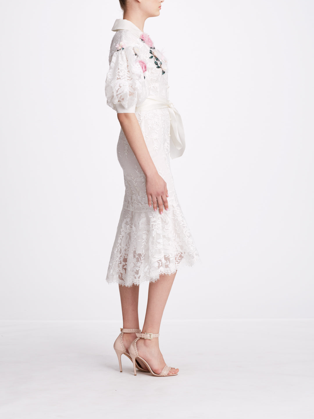 Bubble Sleeve Embroidered Shirt Dress