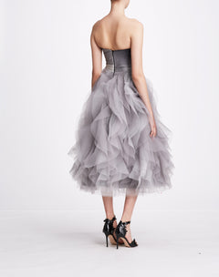 Load image into Gallery viewer, Strapless Draped Bodice Dress