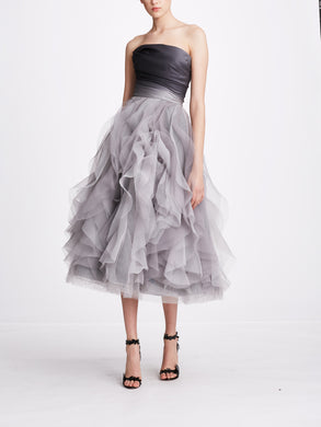 Strapless Draped Bodice Dress