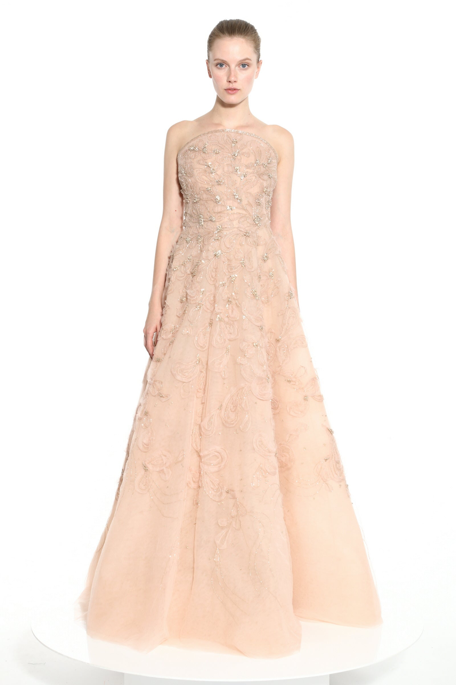 Blush scroll embroidered gown - Special Order