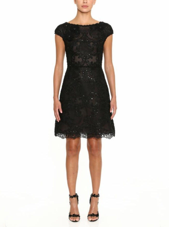 Bateau Neckline Cap Sleeve Lace Cocktail