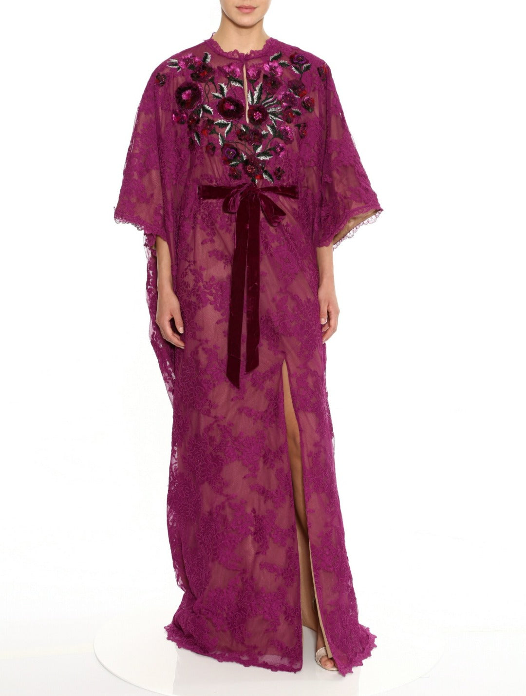 Corded Lace Caftan with Embroidered Neckline