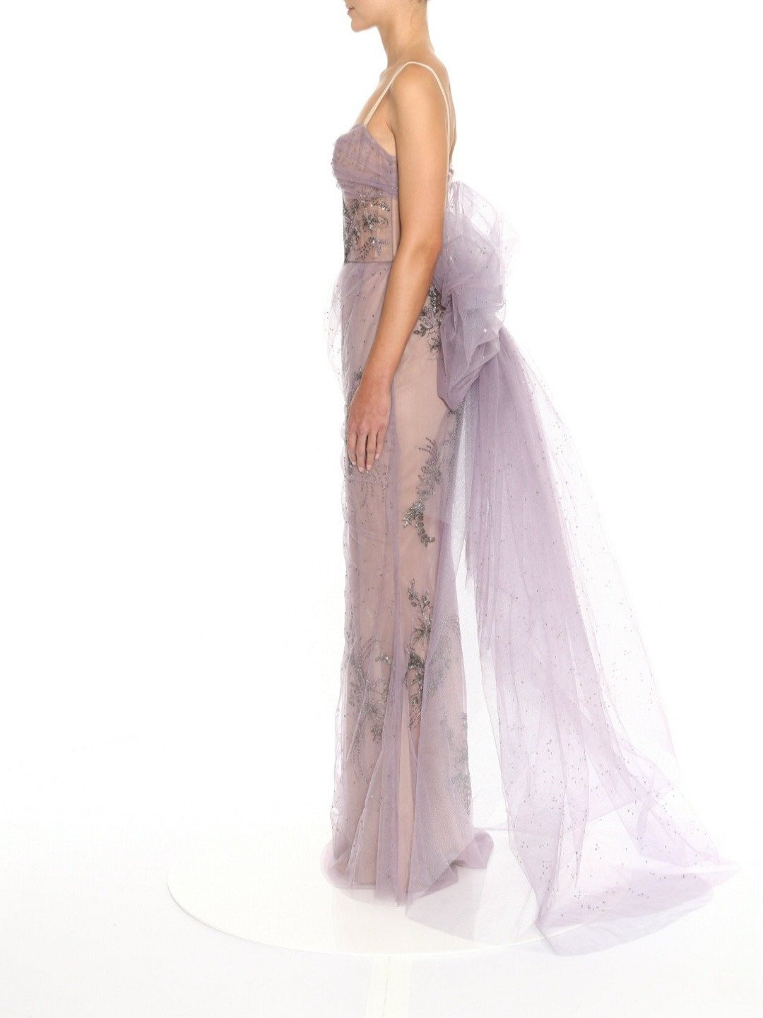 Fully Embroidered Tulle Corseted Gown