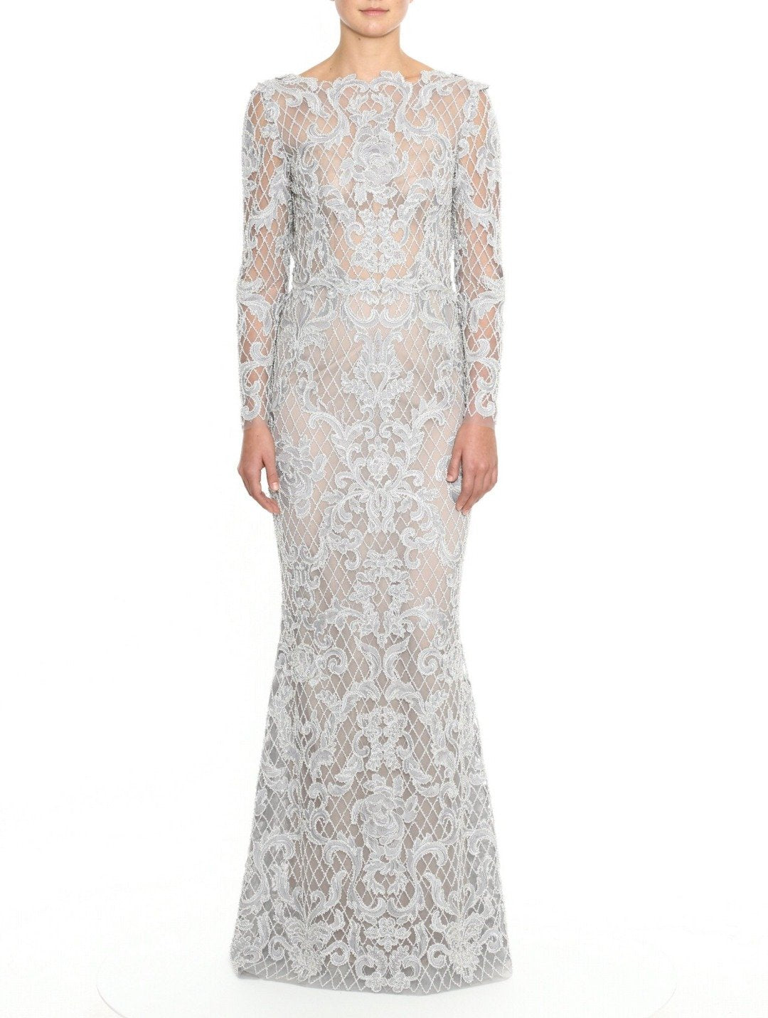 Damask Long-Sleeve Gown