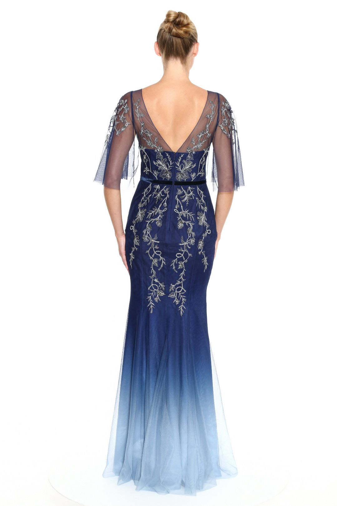 Flutter Sleeve Embroidered Gown