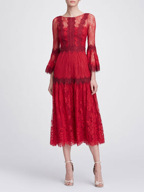 Long sleeve lace tea-length cocktail