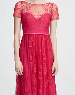Load image into Gallery viewer, Short sleeve chiffon tulle gown