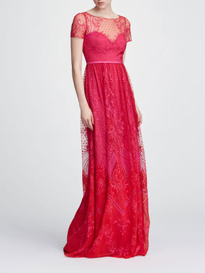 Short sleeve chiffon tulle gown