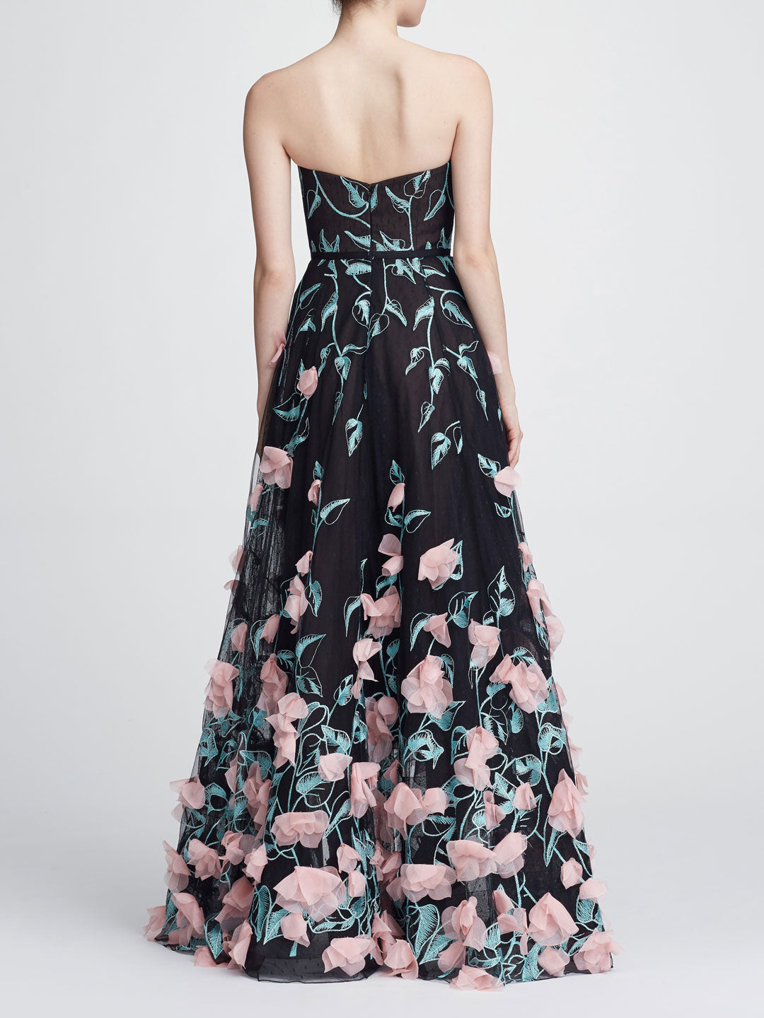 Strapless Hi-lo Embroidered Gown