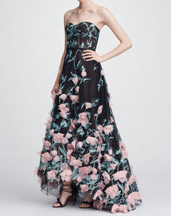 Load image into Gallery viewer, Strapless Hi-lo Embroidered Gown