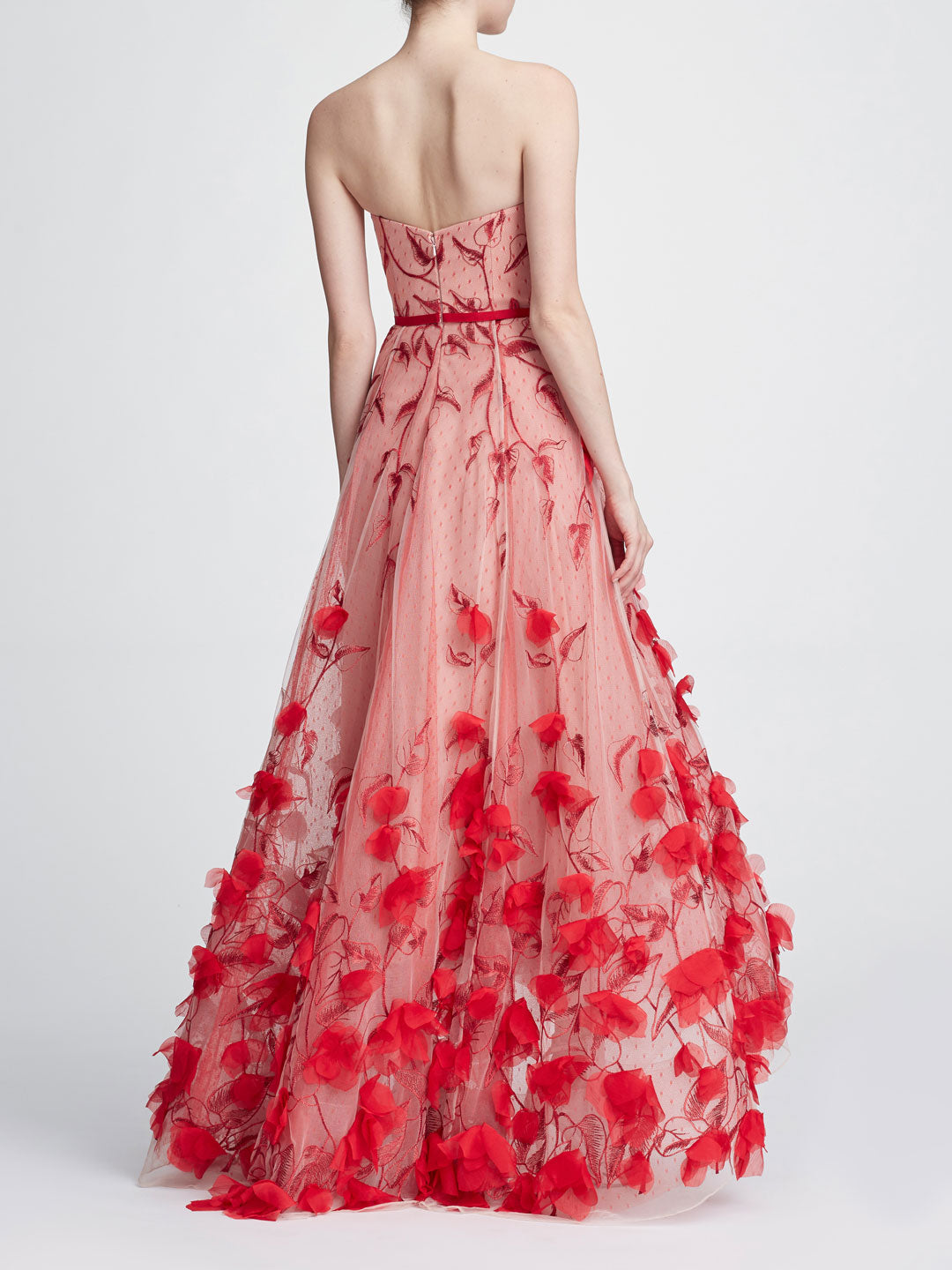 Strapless 3D floral gown