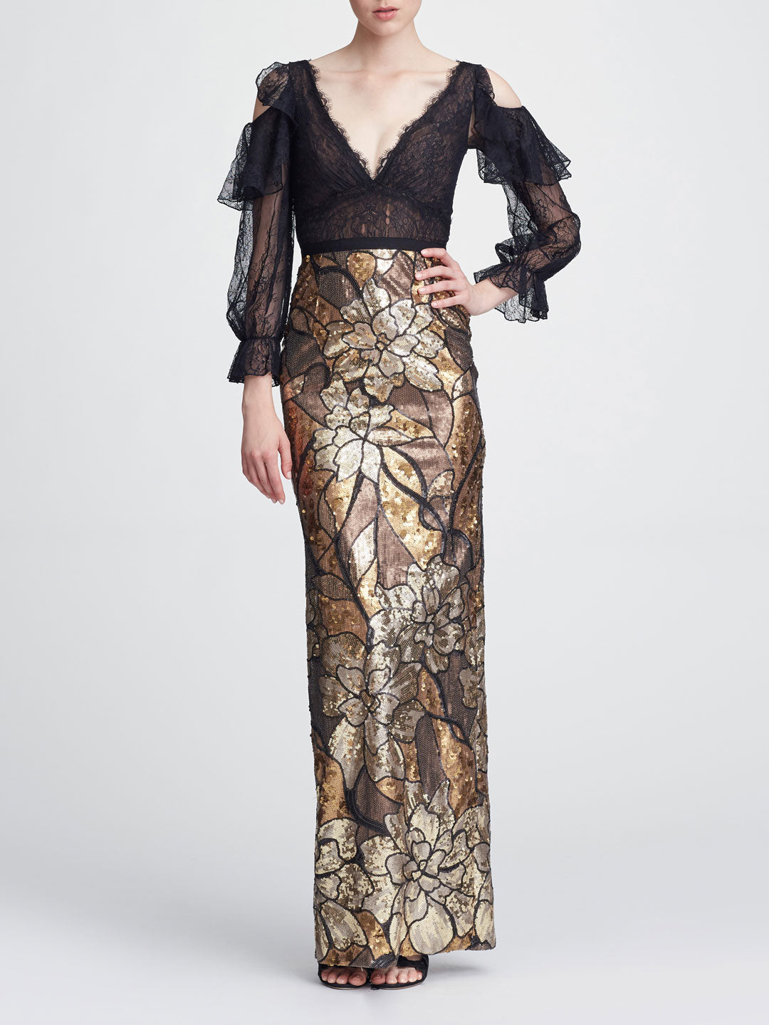 Cold Shoulder Sequin Gown