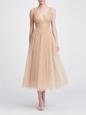 V-neck tea-length gown
