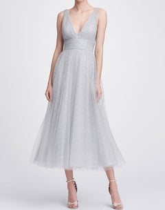 Load image into Gallery viewer, V-neck tea-length gown
