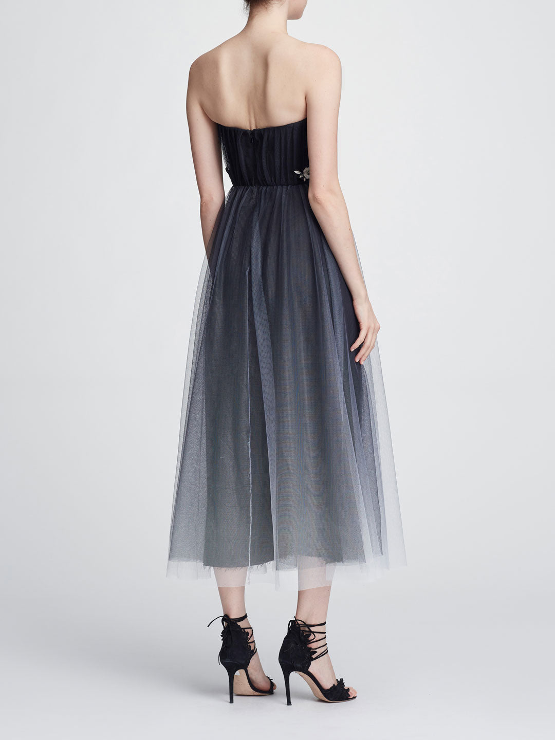 Strapless Tulle Tea-Length Gown