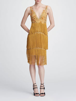 V-neck Fringe Cocktail Dress