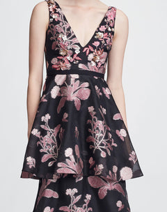 Load image into Gallery viewer, Sleeveless V-neck 3D Floral Gown